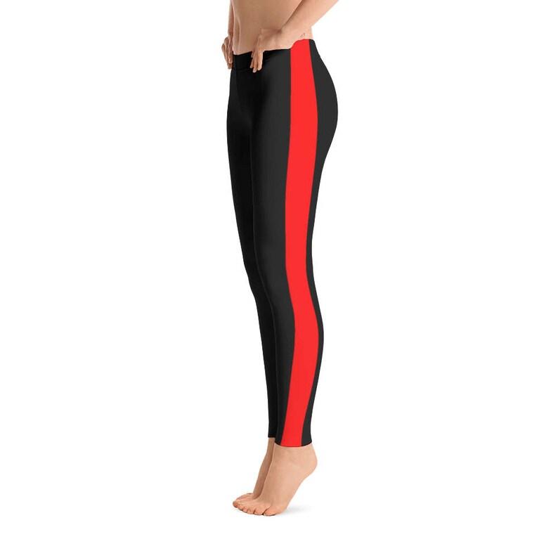 e7dafb3bc7 Striped Leggings Black and Red leggings Workout Leggings | Etsy