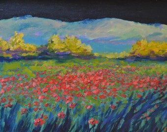 Field poppies black sky-oil on plywood
