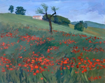 Field poppies with tree and House-oil on masonite