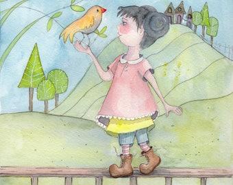 Original Watercolor, Spring girl with bird