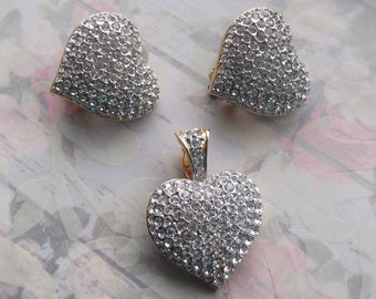 Vintage Rhinestone Heart Earrings and Necklace
