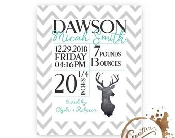 custom chevron deer birth announcement / baby announcement