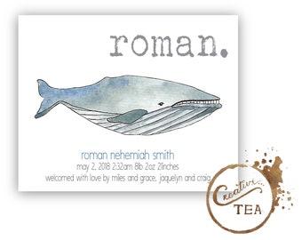 custom whale birth announcement / simple ocean creature baby announcement