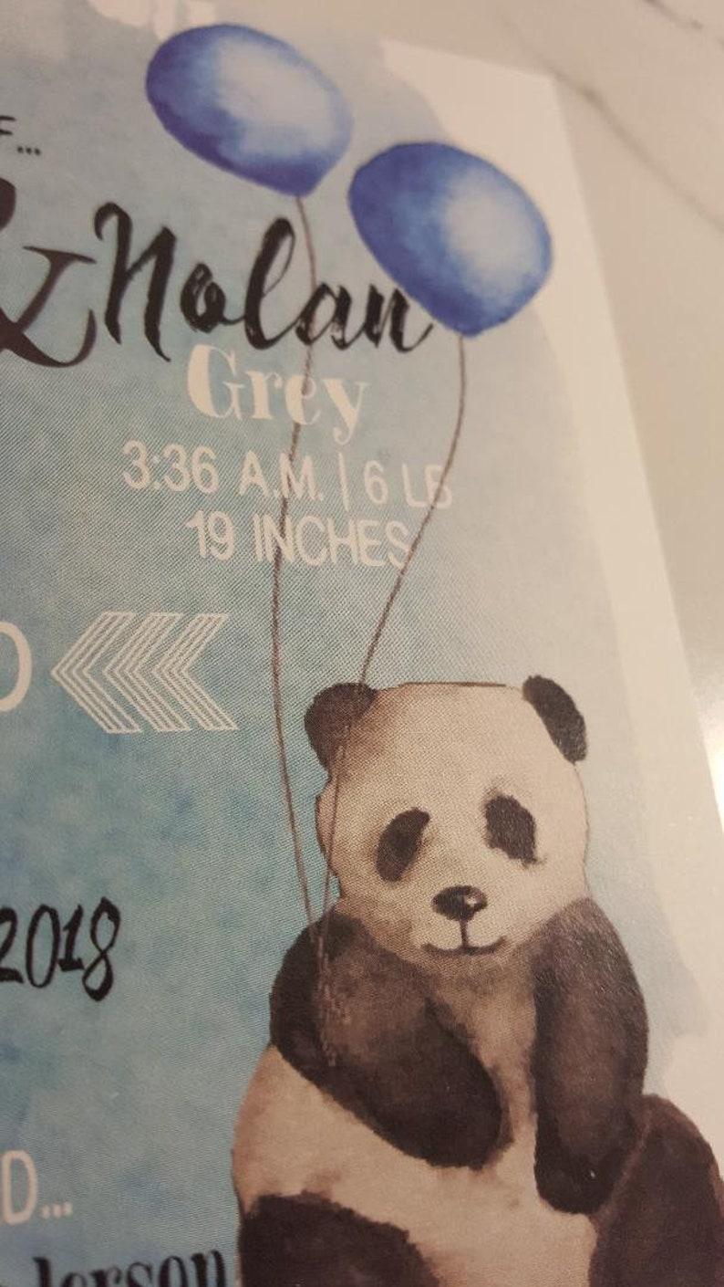 custom twin blue splash panda birth announcement  blue balloon baby announcement