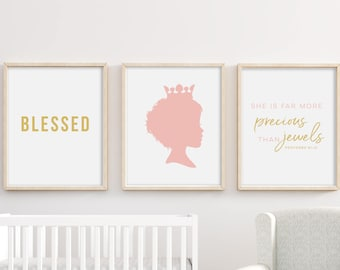 She's More Precious Than Jewels Girl Proverbs 31 Printable Bible Verse Nursery Art Bundle