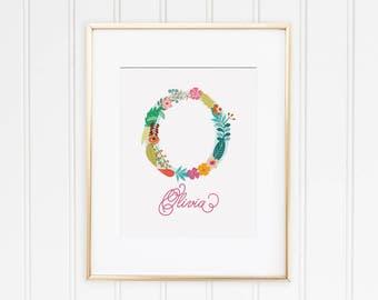 Floral Nursery Monogram Print Decor for Boy or Girl