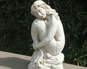 Large Elegant Mermaid - Handmade and Hand Painted Concrete Garden Statue