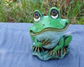 Georgie the cheerful Frog - Handmade and Hand Painted Concrete Statue