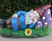 Large Sleeping Garden Gnome - Handmade and Hand Painted Concrete Statue