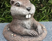 Large Gopher in Dirt- Handmade and Hand Painted Concrete Garden Statue