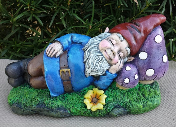Gnome In Garden: Large Sleeping Garden Gnome Handmade And Hand Painted