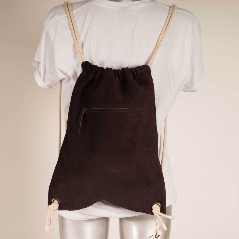 Chic BackPack Dark Brown suede-leather Handmade bag Sack Unisex BackPack Women /& Men Bag Lightweight Bag Travel Bag Young BackPack