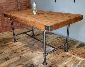 SALE Rustic Industrial Table, Butcher Block Top Table, Dining Table With  Steel Pipe Base, Modern Farmhouse, Steampunk Furniture