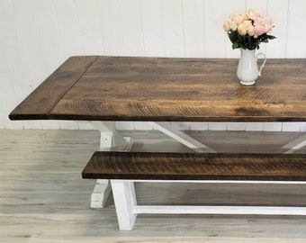 Rough Sawn Oak Farmhouse Dining Table & Bench, Distressed White, Trestle Dining Set, Customize