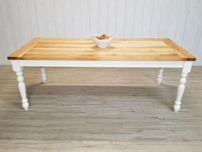 Enjoyable European Country Farmhouse Table Ash Hardwood Top Turned Legs Chalk Painted Base Interior Design Ideas Gentotryabchikinfo