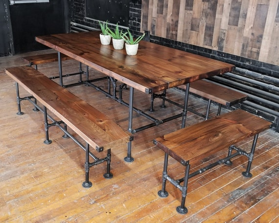 Pleasing Sale Rustic 7 Foot Pine Steel Pipe Dining Set Table With 4 Benches Thick Wood Top Banquet Table Rustic Industrial Furniture Pabps2019 Chair Design Images Pabps2019Com