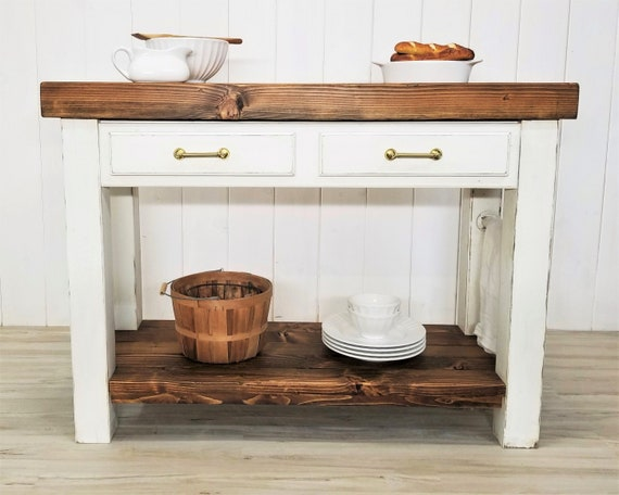 Farmhouse Kitchen Island, Thick Wood Top, Drawers, Shelf