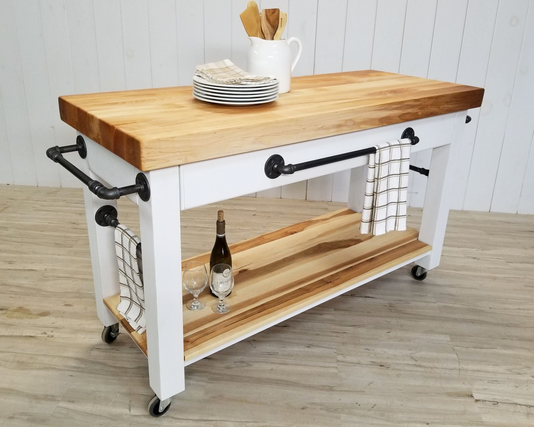 Maple Butcher Block Island Cart With Storage Shelf Drawer Solid Wood Steel Pipes