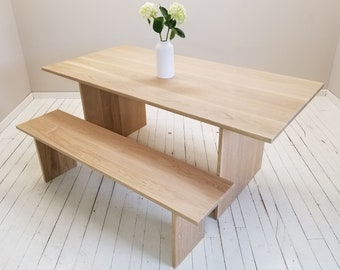 White Oak Panel Dining Table, Bench or Set, Made to Order