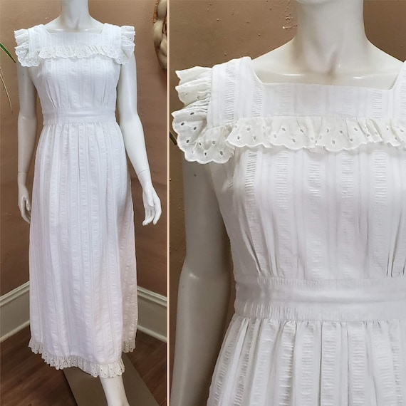 70s White Eyelet Maxi Sundress Hippie Wedding Gown