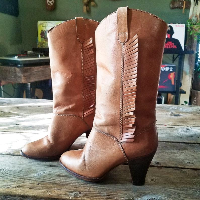 5fcd3bff9a505 Vintage Leather Heeled Boots with Fringe Size 7 1/2 | Stacked High Heel  Pull On 70s 80s Western Style Mid Calf Brown Leather Bohemian Shoe