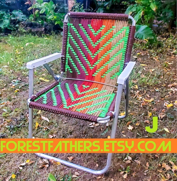 Admirable Custom Hand Woven Macrame Lawn Chair Personalized Vintage Folding Patio Chair Weaving Hipster Yard Decor Camping Festival Seat Gmtry Best Dining Table And Chair Ideas Images Gmtryco