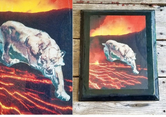 Psychedelic Resin Wall Art 70s Wood Plaque Surreal Art Wood Wall Hanging Stoner Analog Paper Collage Fire Lava Cougar Lion Animal Art