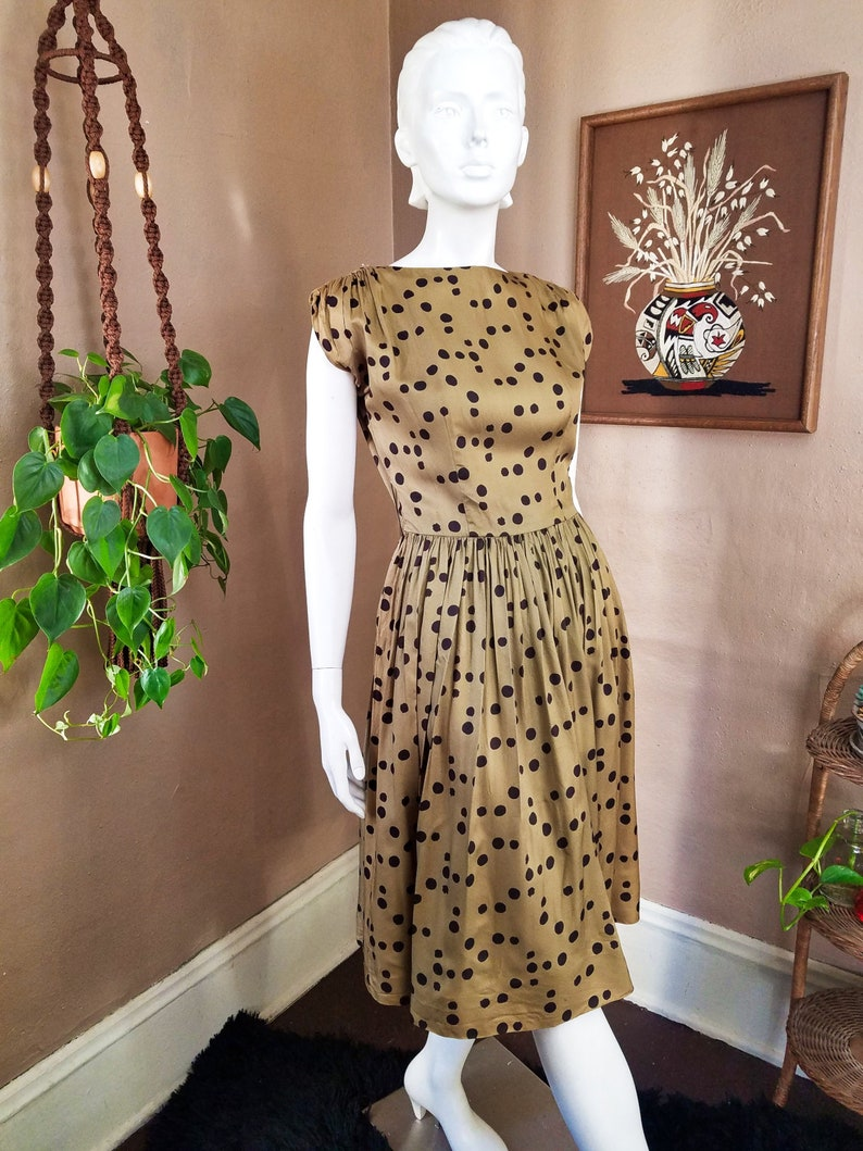 7f7393ad90326 1950s Silk Olive Green Polka Dot Dress Vintage 50s Avocado | Etsy