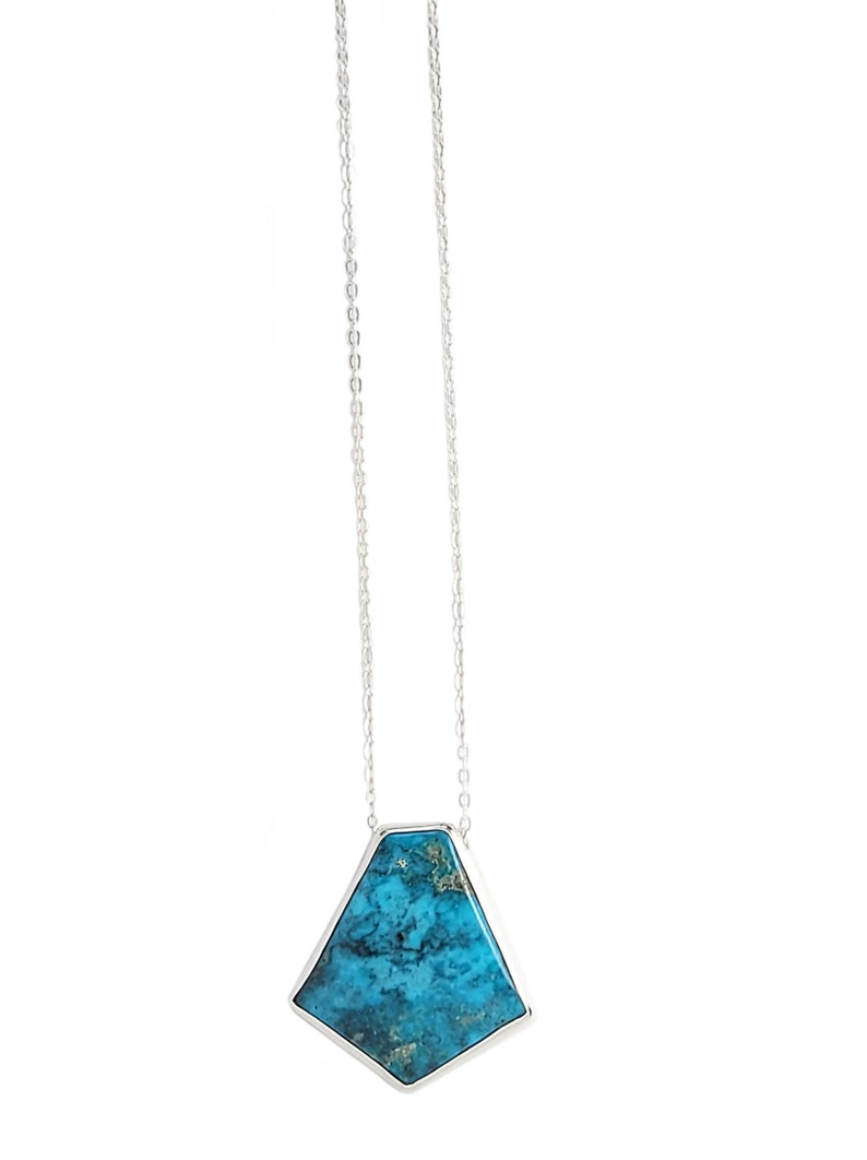 Geometric Turquoise Necklace in Sterling SilverTurquoise NecklaceLayering NecklacesSterling Silver and Turquoise Necklace