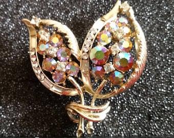 Coro rhinestone gold tone brooch