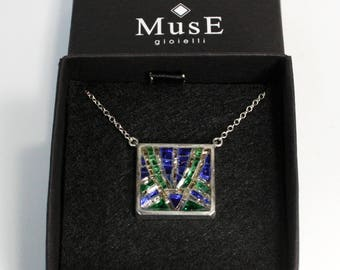 Micro mosaic and 925 sterling silver necklace with geometrical motif, handmade in Italy by jewels MusE