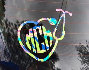 Nurse decal / Stethoscope decal / Monogrammed car decal / car sticker / yeti cup decal / laptop decals / custom mongram / Lilly monogram