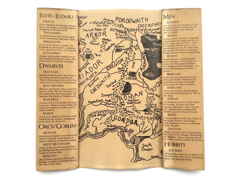 Middle Earth Map // Lord of the Rings Map // Map of Middle Earth // LOTR  Map // Hobbit Map // Middle-Earth Map // Middle Earth Print