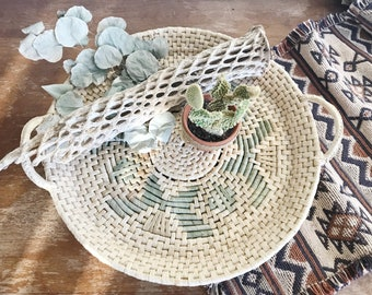 Vintage Woven Wicker Basket with Aztec Design / Southwestern Basket / Woven Rattan Wall Basket