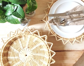 Wicker Plate Charges / Sunburst Plate Chargers / Wall Baskets / Basket Decor