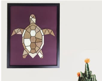 Wood upcycled turtle painting