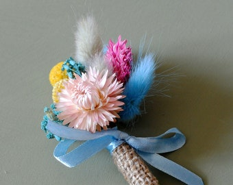 Butonniery Wedding Boutonniere or Corsage in blue  and pink Strawflower pin