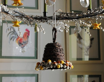 Birch twigs bell with dried flowers, home & wedding decor, natural decor, cottage style