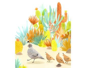 Cactus nursery print, cactus kids room art, quail watercolor art, desert decor, desert nursery art print