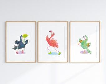 Set of Three Prints -- Tropical birds nursery prints, rollerskating animals kids room art prints, toucan art print, flamingo art, parrot art