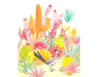 Roadrunner watercolor print, desert animal print, pink wildlife nursery art, baby shower gift, colorful desert art print