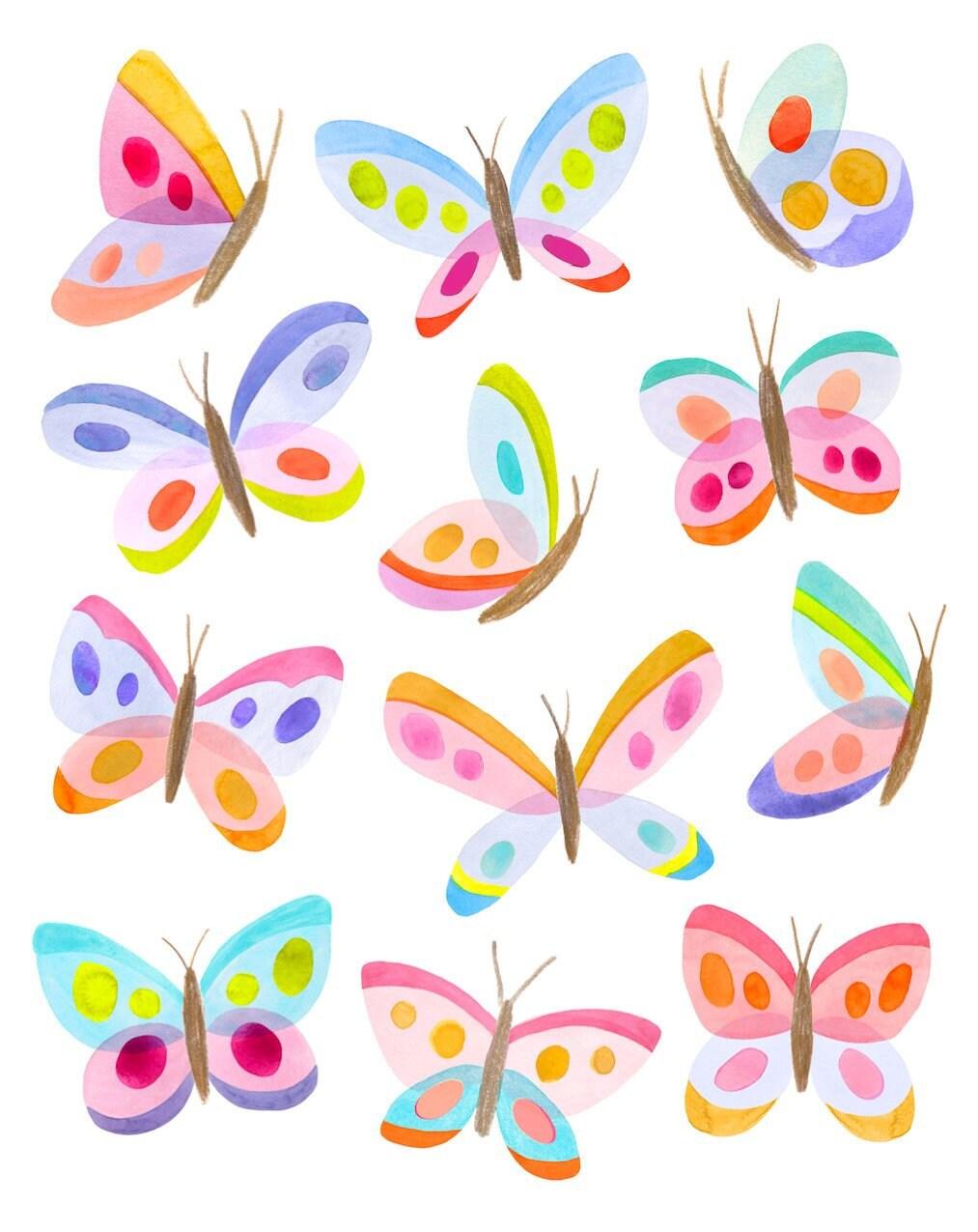Butterfly Nursery Art Print Rainbow Kids Room Print Colorful Etsy