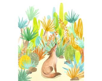 Coyote nursery art print, cactus nursery art, coyote kids room art, coyote nursery art print