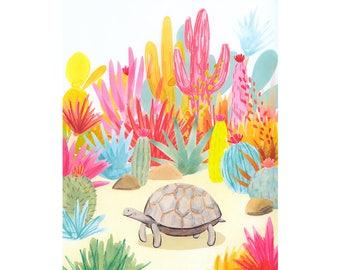 Tortoise nursery print, wildlife nursery print, colorful kids room print, colorful turtle print, colorful nursery art print