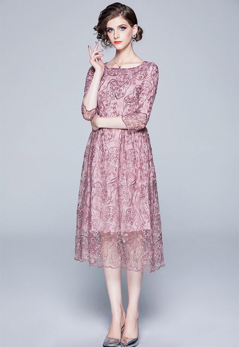 Pink Color Embroidered Summer Dress
