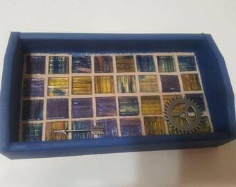 Mosaic Tile Tray - Small blue tray, jewelry / trinket / key holder tray / weed tray