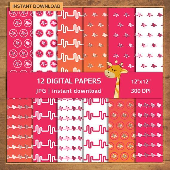 12 Musical.ly página de Scrapbook patrones fondos papel