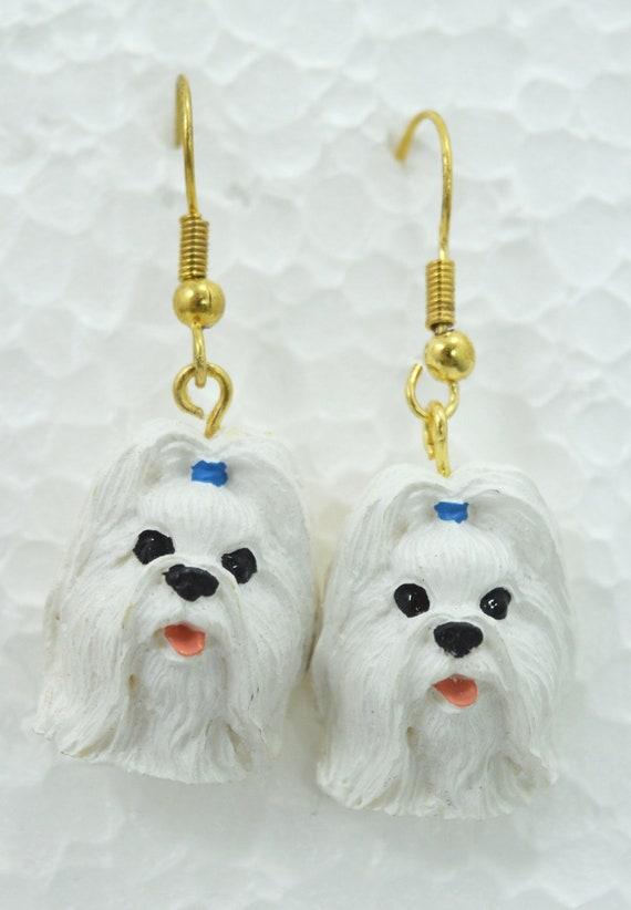 Shih Tzu Earrings White Shih Tzu Jewelry Gift For White Shih Etsy