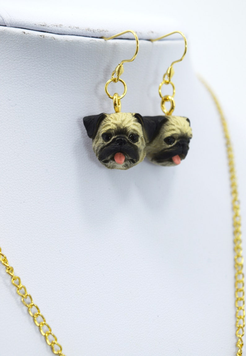 Dog lovers Pug owner Fawn Pug Pug Fawn Charm Necklace and Earrings Set Pug Lover Jewelry Gift Set Pug Lover Pug rescues