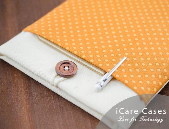 MacBook Air Case 13 Brown White Canvas Polka Dot Modern Padded MacBook Air 13 Sleeve MacBook Air 13 in Sleeve Apple MacBook Air 13 Case